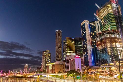 queensland australia au city night victoria bridge