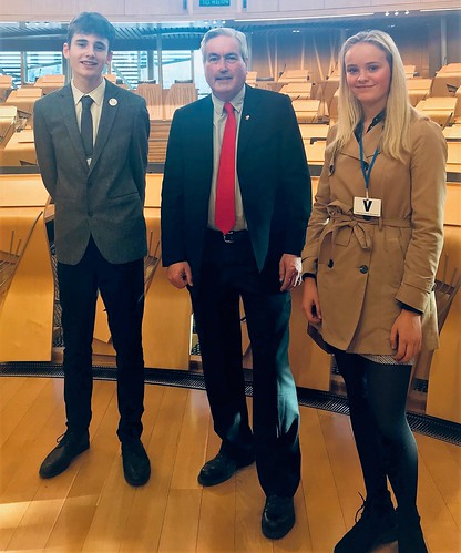 With Dunbar pupils Alex and Zola at Holyrood | by Iain Gray MSP