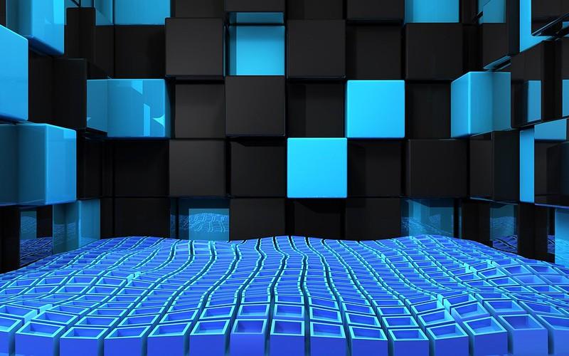 Обои куб, квадраты, пространство, синий, черный картинки на рабочий стол, фото скачать бесплатно