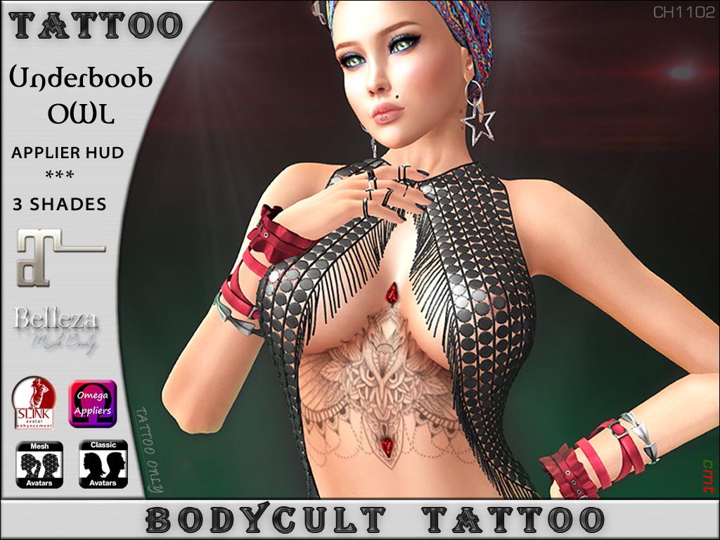 BodyCult Tattoo Underboob OWL Rubin CH1102