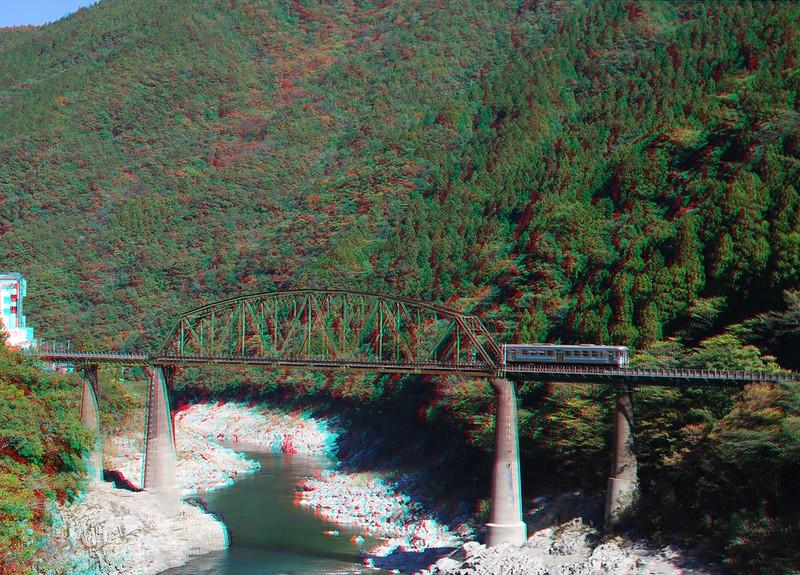 Railroad Bridge across Yoshino river at Oboke-Koboke Gorge, anaglyph
