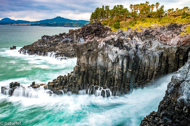Daepo Jusangjeolli Cliff on Jeju Island (South Korea)
