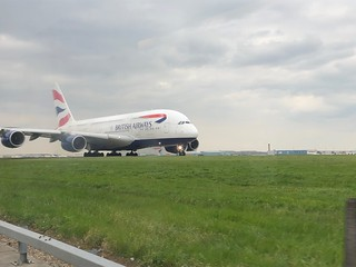 Airbus A380 Taxiing from T5 at Heathrow | by Phil & Catherine Wilkins
