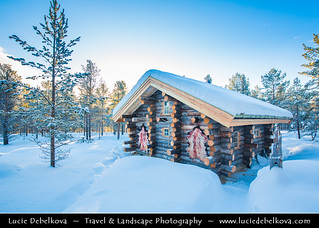 Norway - Finnmark - North of the Arctic Circle - Landscape with traditional wooden house under snow | by © Lucie Debelkova / www.luciedebelkova.com
