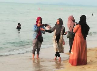 Muslim Ladies at the Beach Penang Malaysia