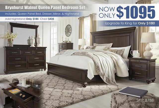 Brynhurst Walnut Queen Panel Bedroom Set_B788-31-36-46-58-56-97-93