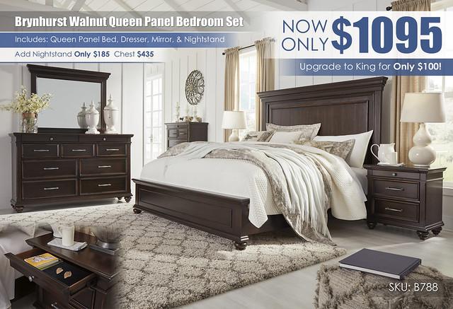 Brynhurst Walnut Queen Panel Bedroom Set_B788-31-36-46-58-56-97-93