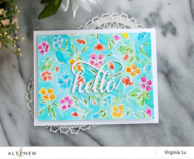 Altenew-FancyHelloDie-DelicateFlowerBedStamp-Virginia#3
