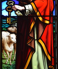 Two sheep watch Christ give keys to St Peter (Thomas Baillie, 1861)