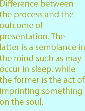 7-1 difference between the process and the outcome of presentation. The latter is a semblance in the mind such as may occur in sleep, while the former is the act of imprinting something on the soul