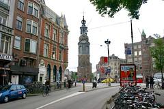 Bikes parked near de Muntplein en de Munttoren /Munt Square with the  Munttower  ,Amsterdam North Holland Netherlands Nederland May 8 2004