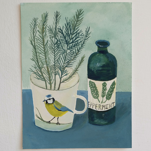 blue tit cup and peppermint bottle