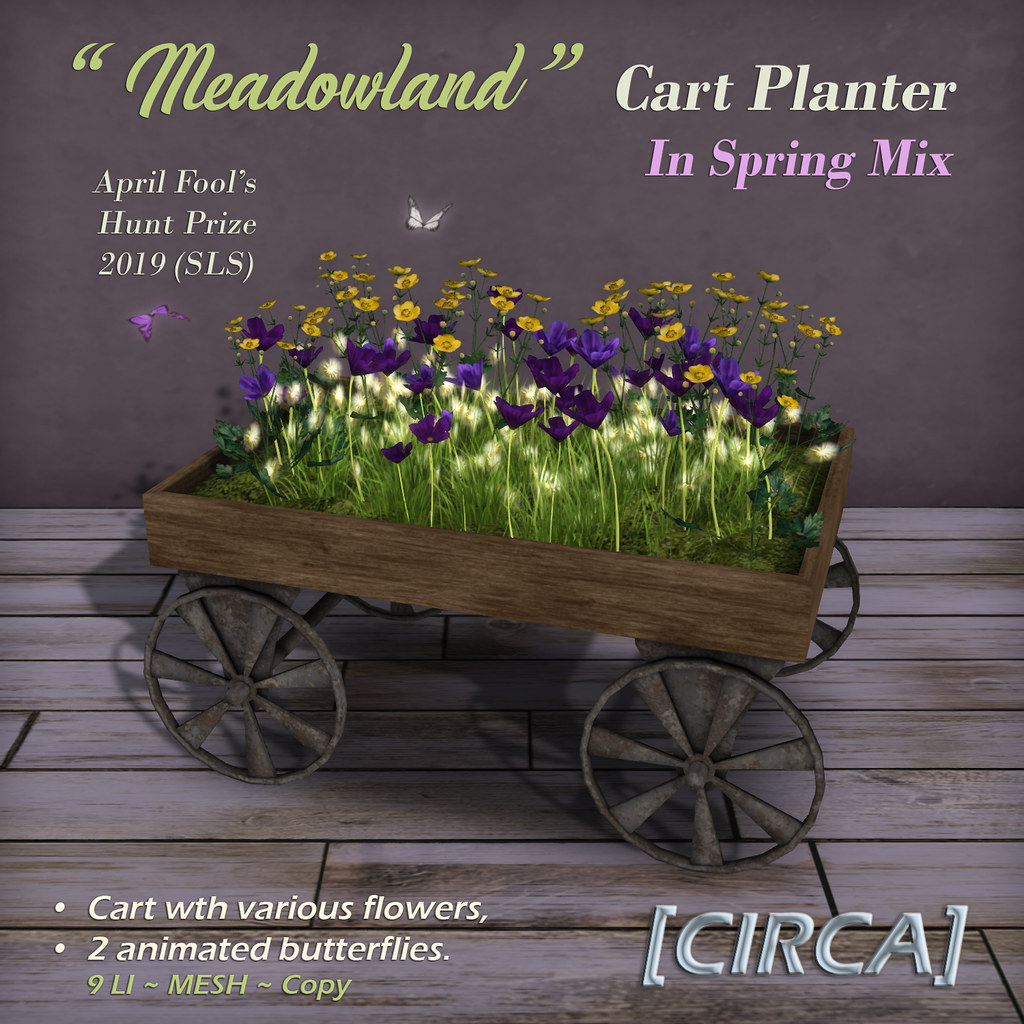 "SLS April Fool's Treasure Hunt | [CIRCA] - ""Meadowland"" Cart Planter - In Spring Mix - April Fools Prize - TeleportHub.com Live!"