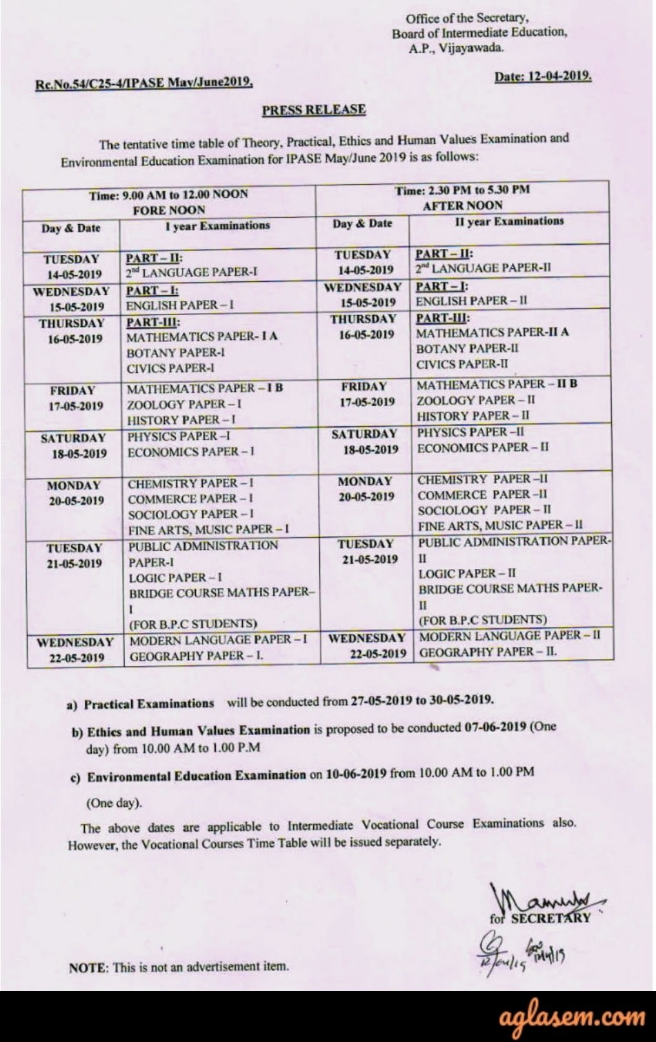 AP Intermediate Supplementary Time Table 2019