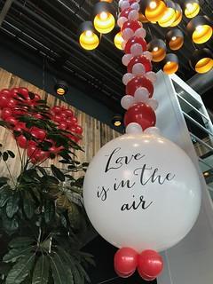 Ballonslinger Love is in the Air en Ballonnenwand Valentijnsdag Watertuin Spijkenisse   by Globos Ballonnen