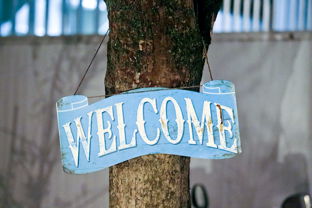 English welcome sign hanging on tree trunk in the night