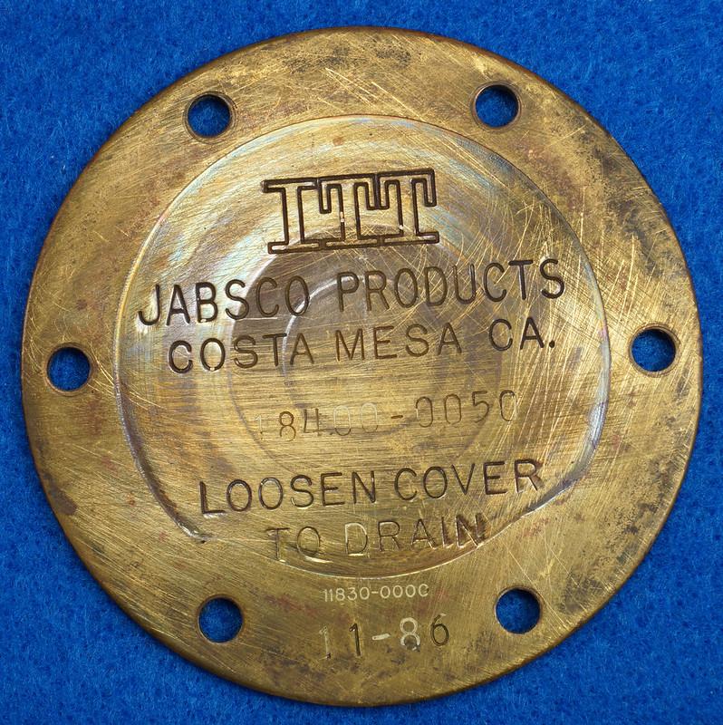 RD26708 Brass 3 inch ITT Jabsco 18400-0050 Pump End Cover Plate DSC00075