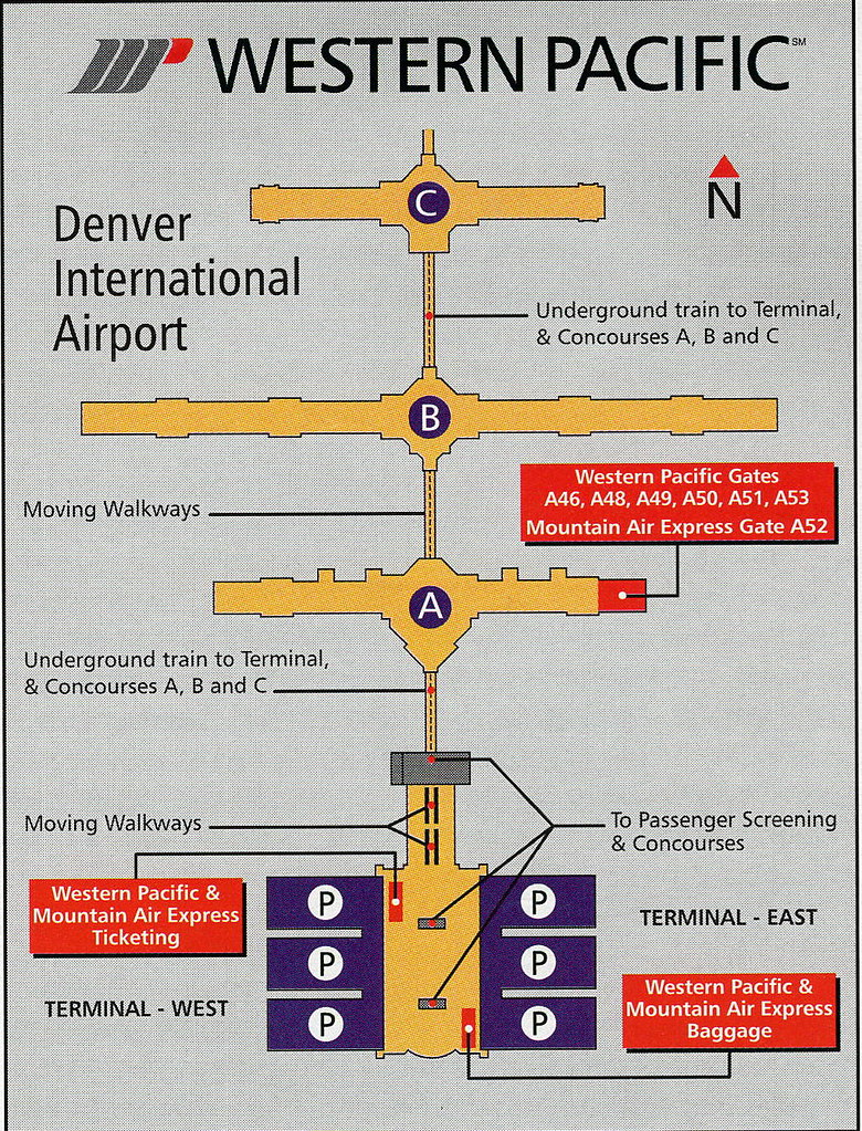 Airline Maps — Western Pacific Denver diagram, 1997 A Western... on
