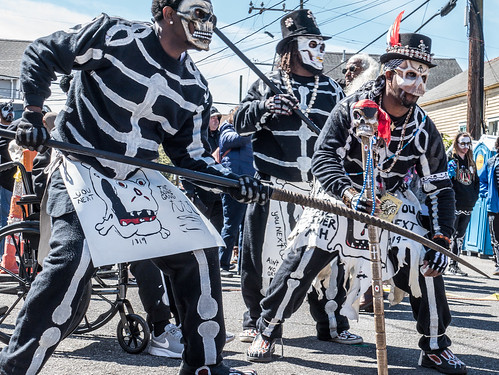 Northside Skull & Bones Gang in front of Backstreet Cultural Museum, Mardi Gras Day 2019. Photo by Olivia Greene.