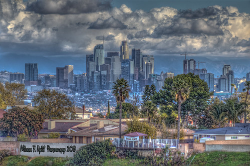 downtownlosangeles losangeles cityscape skyline skyscrapers clouds cloudscapes sky kennethhahnstaterecreationarea california southerncalifornia