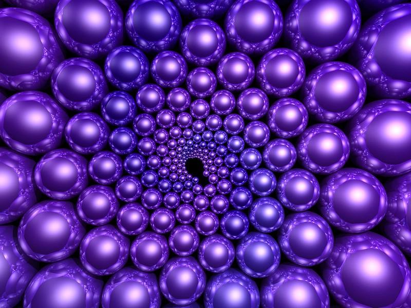 Обои шары, фиолетовый, рендеринг, вращение картинки на рабочий стол, фото скачать бесплатно