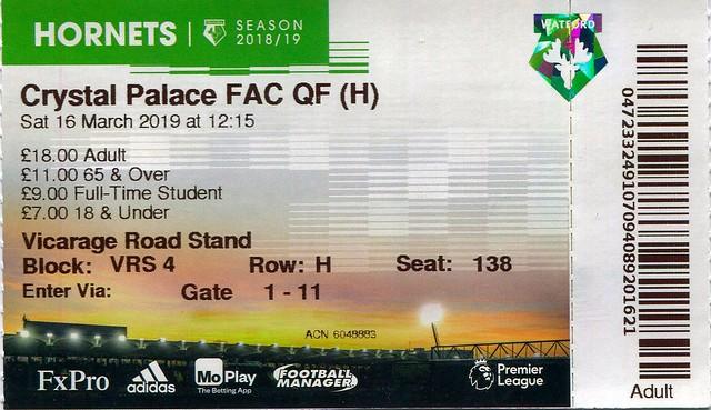 Watford v Palace match ticket (FA Cup 2019)
