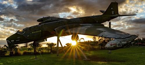 bomber sunset sunrays sunburst clouds wreck outside outdoor willowbank canberra aircraft