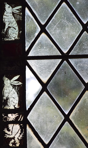 window border: hares and dragon? winged lion? (15th Century) | by Simon_K