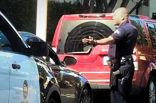 Driver debating with LAPD officer.   by Chris Yarzab