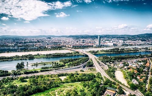 cit vienna from Donauturm   by heyyouphoto
