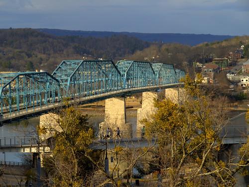 appalachia bridge blue chattanooga downtown easttennessee historic landscape outdoors park tennessee town walnutstreetbridge walking riverwalk tennesseeriver