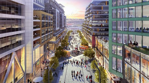 Rendering showing special pedestrian urban design street treatment for Half Street SE, in the vicinity of the Washington Nationals Stadium