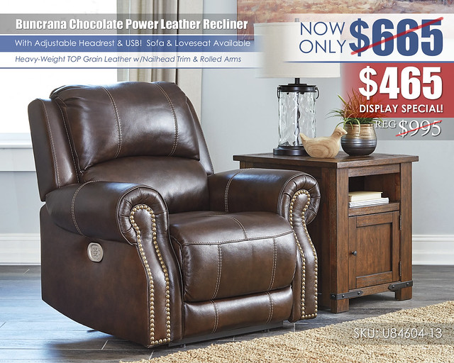 Buncrana Chocolate Power Recliner_U84604-13_displaySpecial