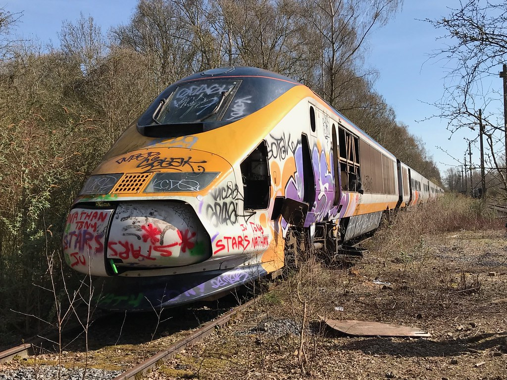 Eurostar 3018 at Valcenciennes awaiting scrapping.