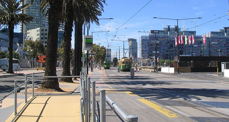 Trams in Docklands, January 2009
