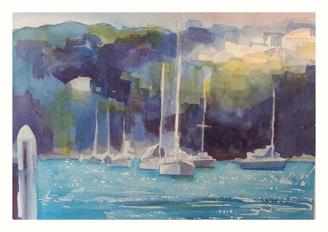Mosman Bay. Sydney Harbor. Watercolor.