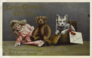 Loving Christmas Greeting postcard / Carte postale de vœux de Noël