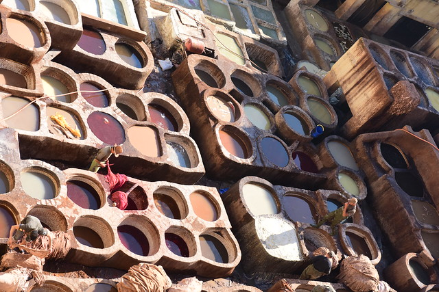 Leather tanners in Fès, January 2019 D810 957