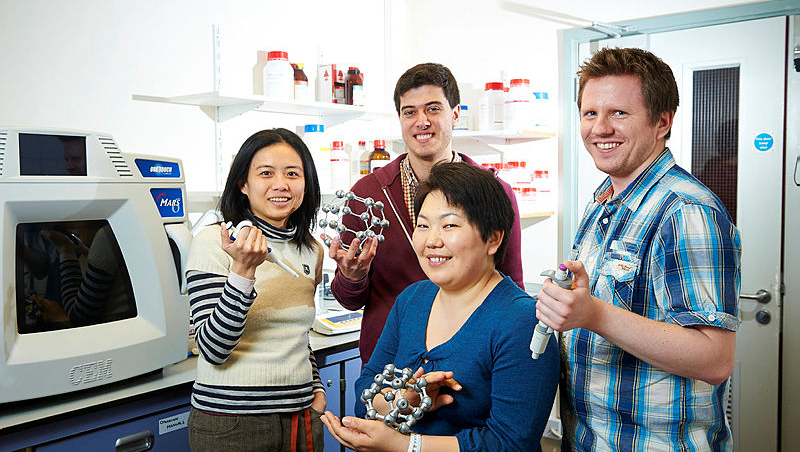 Chemists at the University are developing a new way to transport vaccines without refrigeration, in an effort to increase the availability of life-saving immunisation programmes around the world. Staff and students pictured in the lab.