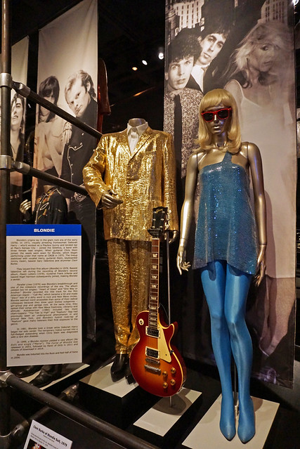 Blondie: Clem Burk Suit, Frank Infante Electric Guitar, Deborah Harry Outfit and wig - Rock and Roll Hall of Fame, Cleveland