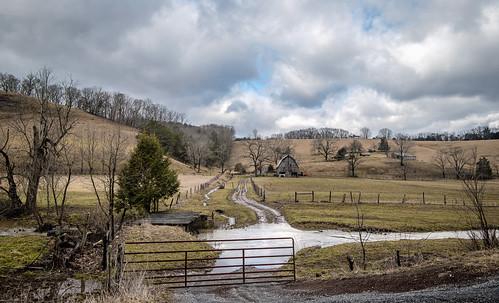 landscape farm barn sky clouds fence gate stream creek flood road rural country trees wv westvirginia monroe bobbell nikon d750