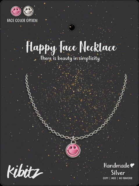 kibitz happy face necklace
