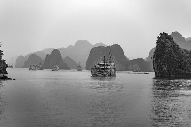 Ha Long Bay in Black and White