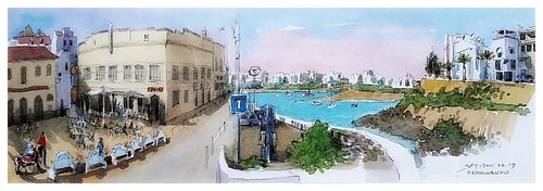 ferragudo algarve portugal googleearthstreetview croquis sketch aquarelle watercolour aguarela watercolor acuarela port portimão place café town city ville restaurant panoramique panoramic