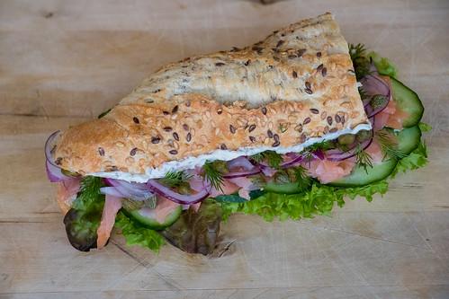 Engineered salmon sandwich