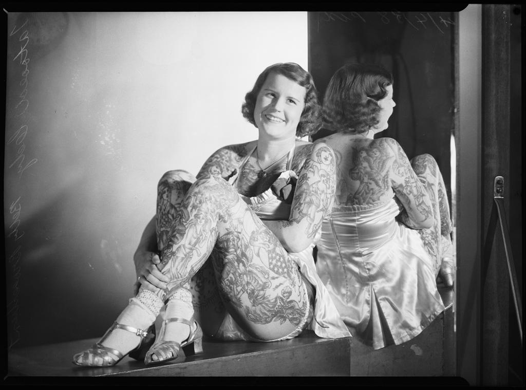 Tattooed lady Betty Broadbent, 4 April 1938