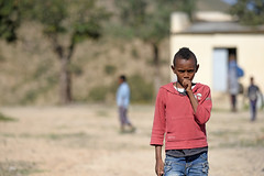 Young boy near train tracks around Nefasit / Eritrea