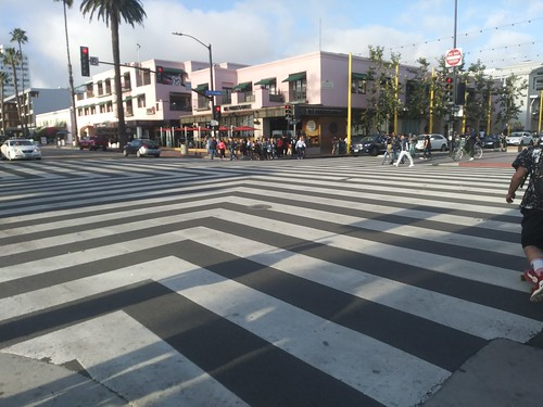 Special intersection treatment, Colorado Avenue and Ocean Avenue, Santa Monica, California