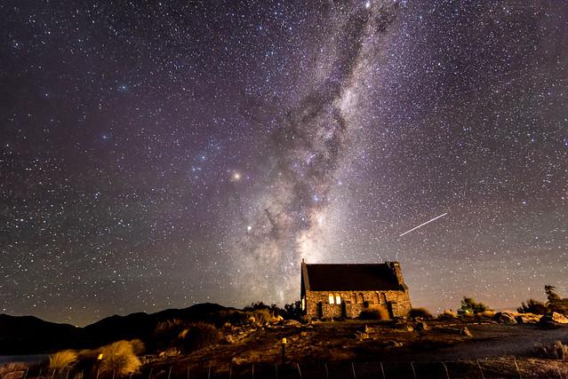 Milkyway over the church of the good shepherd in Tekapo