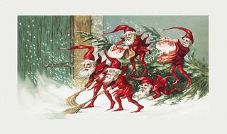 Christmas Illustrations Vintage.Vintage Santa Elves Christmas Illustration Santa Elves Swe